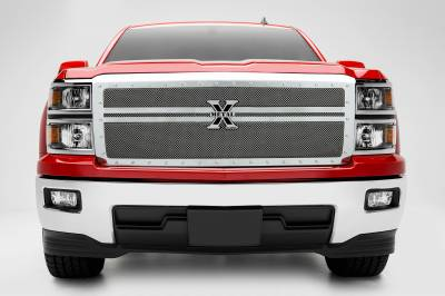 T-REX Grilles - 2014-2015 Silverado 1500 X-Metal Grille, Polished, 1 Pc, Replacement, Chrome Studs, 2 Bars Across - PN #6711180 - Image 1