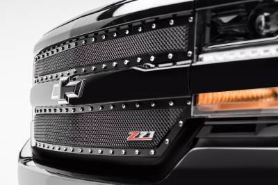 T-REX Grilles - 2016-2018 Silverado 1500 Z71 X-Metal Grille, Black, 2 Pc, Insert, Chrome Studs - PN #6711241 - Image 2
