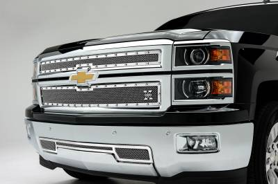 T-REX Grilles - 2014-2015 Silverado 1500 X-Metal Grille, Polished, 2 Pc, Overlay, Chrome Studs - PN #6711170 - Image 1