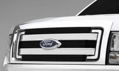T-REX Grilles - Ford F150 XLT, Billet Grille, Main, Overlay, 4 Pc's, Black Powder Coating Aluminum Bars - Image 1