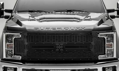 T-REX Grilles - 2017-2019 Super Duty Stealth Laser X Grille, Black, 1 Pc, Replacement, Black Studs, Fits Vehicles with Camera - PN #7715371-BR - Image 2