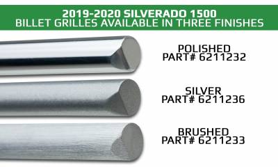 T-REX Grilles - 2019-2021 Silverado 1500 Trail Boss, RST, LT Round Billet Grille, Horizontal Round, Silver, 4 Pc, Overlay, Does Not Fit Vehicles with Camera - PN #6211236 - Image 6