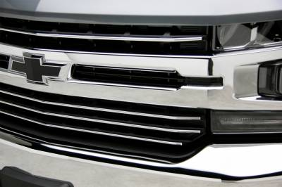 T-REX Grilles - 2019-2021 Silverado 1500 Trail Boss, RST, LT Round Billet Grille, Horizontal Round, Polished, 4 Pc, Overlay, Does Not Fit Vehicles with Camera - PN #6211232 - Image 3