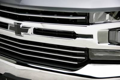 T-REX Grilles - 2019-2021 Silverado 1500 Trail Boss, RST, LT Round Billet Grille, Horizontal Round, Silver, 4 Pc, Overlay, Does Not Fit Vehicles with Camera - PN #6211236 - Image 8