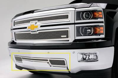 T-REX Grilles - 2014-2015 Silverado 1500 Upper Class Series Bumper Grille, Polished, 1 Pc, Overlay - PN #55117 - Image 1