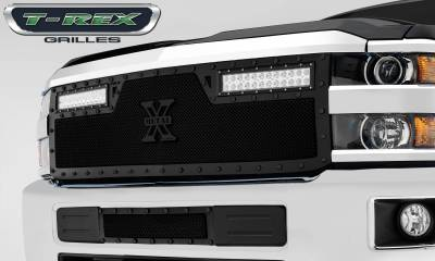 "T-REX Grilles - 2015-2019 Silverado HD Stealth Torch Grille, Black, 1 Pc, Replacement, Black Studs with (2) 12"" LEDs - PN #6311231-BR - Image 2"