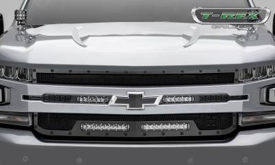 T-REX Grilles - 2019-2021 Silverado 1500 Stealth Torch Grille, Black, 1 Pc, Replacement, Black Studs with (2) 6 Inch and (2) 10 Inch LEDs, Does Not Fit Vehicles with Camera - PN #6311261-BR - Image 2