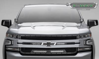T-REX Grilles - 2019-2021 Silverado 1500 Stealth Torch Grille, Black, 1 Pc, Replacement, Black Studs with (2) 6 Inch and (2) 10 Inch LEDs, Does Not Fit Vehicles with Camera - PN #6311261-BR - Image 4