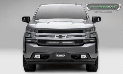 T-REX Grilles - 2019-2021 Silverado 1500 Stealth Torch Grille, Black, 1 Pc, Replacement, Black Studs with (2) 6 Inch and (2) 10 Inch LEDs, Does Not Fit Vehicles with Camera - PN #6311261-BR - Image 5