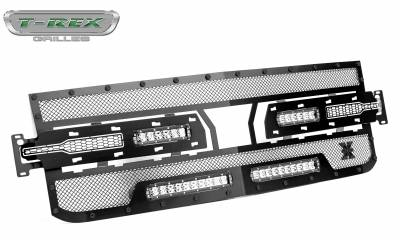 T-REX Grilles - 2019-2021 Silverado 1500 Stealth Torch Grille, Black, 1 Pc, Replacement, Black Studs with (2) 6 Inch and (2) 10 Inch LEDs, Does Not Fit Vehicles with Camera - PN #6311261-BR - Image 8