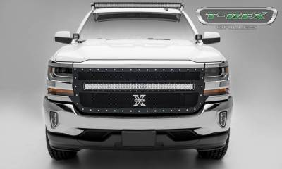 "T-REX Grilles - 2016-2018 Silverado 1500 Torch Grille, Black, 1 Pc, Replacement, Chrome Studs with (1) 40"" LED - PN #6311271 - Image 1"