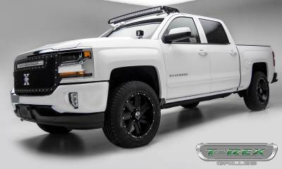 """T-REX Grilles - 2016-2018 Silverado 1500 Torch Grille, Black, 1 Pc, Replacement, Chrome Studs with (1) 30"""" LED - PN #6311281 - Image 3"""