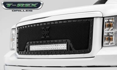 "T-REX Grilles - 2007-2013 Sierra 1500 Stealth Torch Grille, Black, 1 Pc, Insert, Black Studs with (1) 20"" LED - PN #6312051-BR"