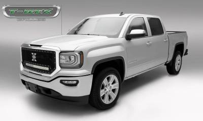 "T-REX Grilles - 2016-2018 Sierra 1500 Torch Grille, Black, 1 Pc, Insert, Chrome Studs with (1) 30"" LED - PN #6312131 - Image 2"