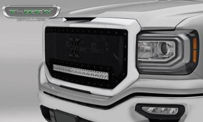 """T-REX Grilles - 2016-2018 Sierra 1500 Stealth Torch Grille, Black, 1 Pc, Insert, Black Studs with (1) 30"""" LED - PN #6312131-BR - Image 1"""