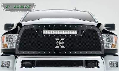 """T-REX Grilles - 2010-2012 Ram 2500, 3500 Torch Grille, Black, 1 Pc, Replacement, Chrome Studs with (1) 20"""" LED - PN #6314531 - Image 2"""