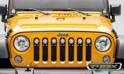 "T-REX Grilles - 2007-2018 Jeep JK, JKU Torch Grille, Black, 1 Pc, Insert, Chrome Studs with (7) 2"" LED Round Lights - PN #6314841 - Image 3"