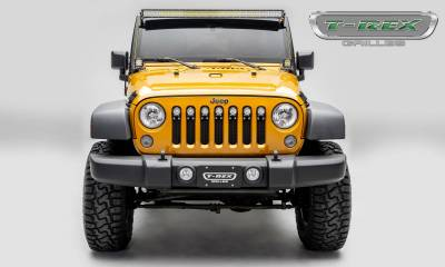 "T-REX Grilles - 2007-2018 Jeep JK, JKU Torch Grille, Black, 1 Pc, Insert, Chrome Studs with (7) 2"" LED Round Lights - PN #6314841 - Image 4"