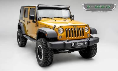 "T-REX Grilles - 2007-2018 Jeep JK, JKU Torch Grille, Black, 1 Pc, Insert, Chrome Studs with (7) 2"" LED Round Lights - PN #6314841 - Image 5"