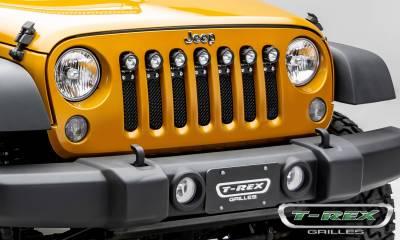 "T-REX Grilles - 2007-2018 Jeep JK, JKU Torch Grille, Black, 1 Pc, Insert, Chrome Studs with (7) 2"" LED Round Lights - PN #6314841 - Image 6"