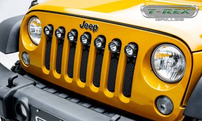 "T-REX Grilles - 2007-2018 Jeep JK, JKU Stealth Torch Grille, Black, 1 Pc, Insert, Black Studs with (7) 2"" LED Round Lights - PN #6314841-BR"