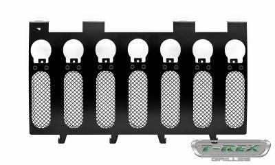 "T-REX Grilles - 2007-2018 Jeep JK, JKU Stealth Torch Grille, Black, 1 Pc, Insert, Black Studs with (7) 2"" LED Round Lights - PN #6314841-BR - Image 2"