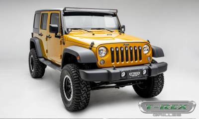 "T-REX Grilles - 2007-2018 Jeep JK, JKU Stealth Torch Grille, Black, 1 Pc, Insert, Black Studs with (7) 2"" LED Round Lights - PN #6314841-BR - Image 5"