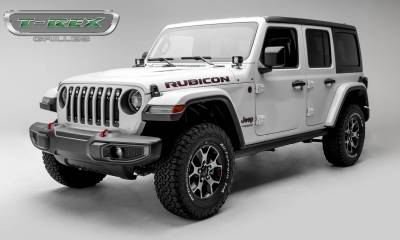 T-REX Grilles - Jeep Gladiator, JL Torch Grille, Black, 1 Pc, Insert, Chrome Studs with (7) 2 Inch LED Round Lights, Does Not Fit Vehicles with Camera - PN #6314931 - Image 3
