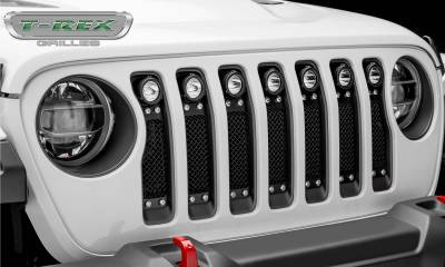 T-REX Grilles - Jeep Gladiator, JL Torch Grille, Black, 1 Pc, Insert, Chrome Studs with (7) 2 Inch LED Round Lights, Does Not Fit Vehicles with Camera - PN #6314931 - Image 6