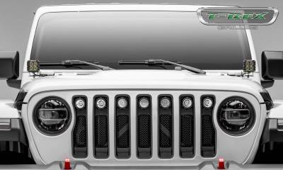 T-REX Grilles - Jeep Gladiator, JL Torch Grille, Black, 1 Pc, Insert with (7) 2 Inch LED Round Lights, Does Not Fit Vehicles with Camera - PN #6314941 - Image 4