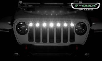 T-REX Grilles - Jeep Gladiator, JL Torch Grille, Black, 1 Pc, Insert with (7) 2 Inch LED Round Lights, Does Not Fit Vehicles with Camera - PN #6314941 - Image 5