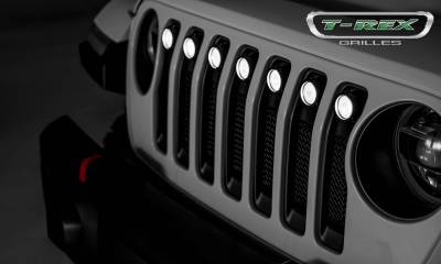 T-REX Grilles - Jeep Gladiator, JL Torch Grille, Black, 1 Pc, Insert with (7) 2 Inch LED Round Lights, Does Not Fit Vehicles with Camera - PN #6314941 - Image 6