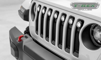 T-REX Grilles - Jeep Gladiator, JL Torch Grille, Black, 1 Pc, Insert with (7) 2 Inch LED Round Lights, Does Not Fit Vehicles with Camera - PN #6314941 - Image 7