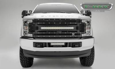 """T-REX Grilles - 2017-2019 Super Duty Torch Grille, Black, 1 Pc, Replacement, Chrome Studs with (1) 30"""" LED, Fits Vehicles with Camera - PN #6315371 - Image 2"""
