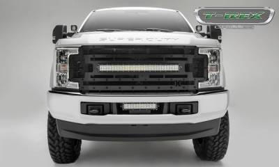 "T-REX Grilles - 2017-2019 Super Duty Stealth Torch Grille, Black, 1 Pc, Replacement, Black Studs with (1) 30"" LED, Fits Vehicles with Camera - PN #6315371-BR - Image 2"
