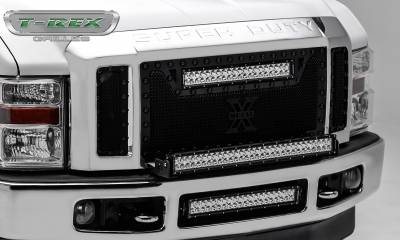 """T-REX Grilles - 2008-2010 Super Duty Stealth Torch Grille, Black, 3 Pc, Replacement, Black Studs with (1) 20"""" LED - PN #6315451-BR - Image 2"""