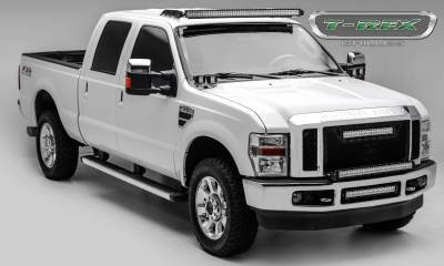 """T-REX Grilles - 2008-2010 Super Duty Stealth Torch Grille, Black, 3 Pc, Replacement, Black Studs with (1) 20"""" LED - PN #6315451-BR - Image 3"""