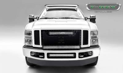 """T-REX Grilles - 2008-2010 Super Duty Stealth Torch Grille, Black, 3 Pc, Replacement, Black Studs with (1) 20"""" LED - PN #6315451-BR - Image 4"""