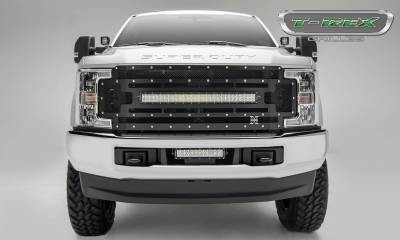 "T-REX Grilles - 2017-2019 Super Duty Torch Grille, Black, 1 Pc, Replacement, Chrome Studs with (1) 30"" LED, Does Not Fit Vehicles with Camera - PN #6315471 - Image 1"