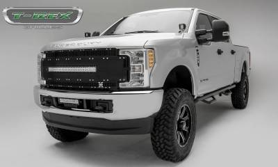 """T-REX Grilles - 2017-2019 Super Duty Torch AL Grille, Black Mesh and Trim, 1 Pc, Replacement, Chrome Studs with (1) 30"""" LED, Does Not Fit Vehicles with Camera - PN #6315481 - Image 1"""