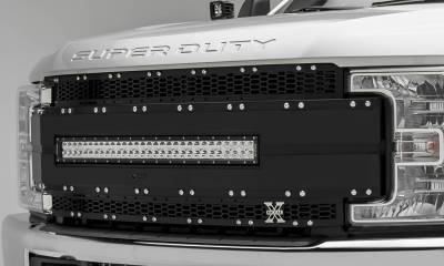"T-REX Grilles - 2017-2019 Super Duty Torch AL Grille, Black Mesh and Trim, 1 Pc, Replacement, Chrome Studs with (1) 30"" LED, Fits Vehicles with Camera - PN #6315491 - Image 4"