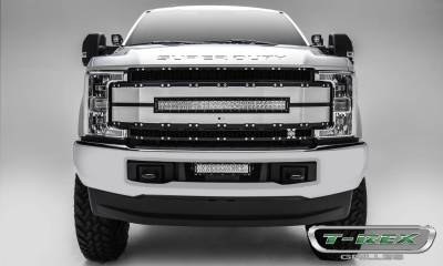 """T-REX Grilles - 2017-2019 Super Duty Torch AL Grille, Black Mesh, Brushed Trim, 1 Pc, Replacement, Chrome Studs with (1) 30"""" LED, Fits Vehicles with Camera - PN #6315493 - Image 1"""