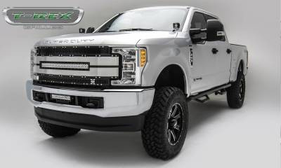 """T-REX Grilles - 2017-2019 Super Duty Torch AL Grille, Black Mesh, Brushed Trim, 1 Pc, Replacement, Chrome Studs with (1) 30"""" LED, Fits Vehicles with Camera - PN #6315493 - Image 2"""
