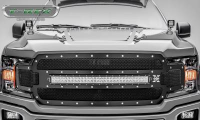 T-REX Grilles - 2018-2020 F-150 Torch Grille, Black, 1 Pc, Replacement, Chrome Studs with 30 Inch LED, Does Not Fit Vehicles with Camera - PN #6315711 - Image 2