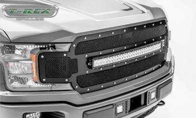 T-REX Grilles - 2018-2020 F-150 Torch Grille, Black, 1 Pc, Replacement, Chrome Studs with 30 Inch LED, Does Not Fit Vehicles with Camera - PN #6315711 - Image 3