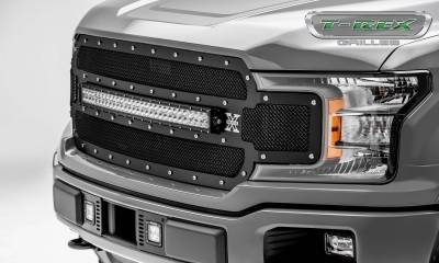 T-REX Grilles - 2018-2020 F-150 Torch Grille, Black, 1 Pc, Replacement, Chrome Studs with 30 Inch LED, Does Not Fit Vehicles with Camera - PN #6315711 - Image 5