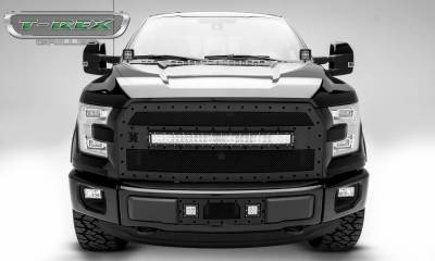 """T-REX Grilles - 2015-2017 F-150 Stealth Torch Grille, Black, 1 Pc, Replacement, Black Studs with (1) 30"""" LED, Fits Vehicles with Camera - PN #6315741-BR - Image 2"""
