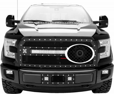 """T-REX Grilles - 2015-2017 F-150 Stealth Torch Grille, Black, 1 Pc, Replacement, Black Studs with (1) 30"""" LED, Fits Vehicles with Camera - PN #6315741-BR - Image 3"""