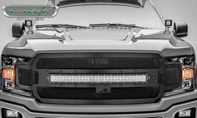T-REX Grilles - 2018-2020 F-150 Stealth Torch Grille, Black, 1 Pc, Replacement, Black Studs with 30 Inch LED, Fits Vehicles with Camera - PN #6315751-BR - Image 2
