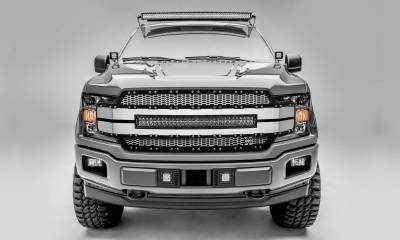 T-REX Grilles - 2018-2020 F-150 Torch AL Grille, Brushed Mesh and Trim, 1 Pc, Replacement, Chrome Studs with 30 Inch LED, Does Not Fit Vehicles with Camera - PN #6315785 - Image 1